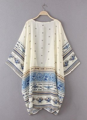 Summer Chiffon Printed Women's Long Loose Thin Kimono_4