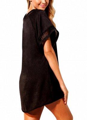 Women Crochet V-Neck Cover Up Beach Summer Dress Irregular Casual_4