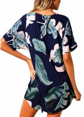Women Beach Dresses Cover Ups Plants Print Tie Knot Mini Sexy Bikini Beachwear_7