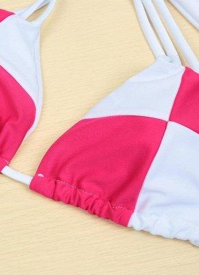 Color Block Halter Padded Two Piece Rose Sexy Bikini Set_4