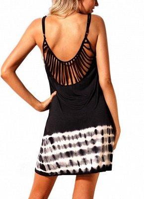 Women Summer Cover Ups Strappy Back Tie Dye Backless Sexy Bikini Cover Beachwear_4