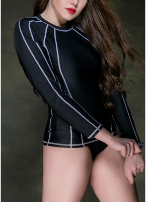 Plus Size Stripes O-Neck Long Sleeves Wireless Padded Swimsuit_5