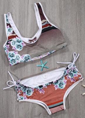 Women Sexy Bikini Set Floral Geometric Print Lace-Up Wireless Swimwear Swimsuits Two Piece Beach Wear_6