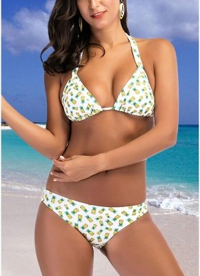 Women Swimsuits Halter Pineapple Watermelon Print Bandage  Sexy Bikini Set Beach Wear_2