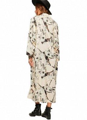 Floral Bird Print Open Front Women's Long Thin Kimono_4