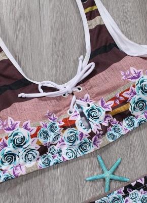 Women Sexy Bikini Set Floral Geometric Print Lace-Up Wireless Swimwear Swimsuits Two Piece Beach Wear_7