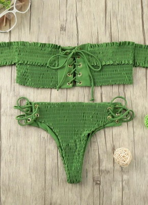Women Smocked Off the Shoulder Lace Up Sexy Bikini Set_3