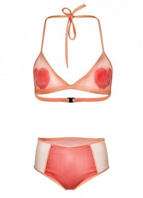Women Sexy Bikini Set Heart Pattern Halter Bra Beach Swimwear Swimsuit Bathing Suit_4