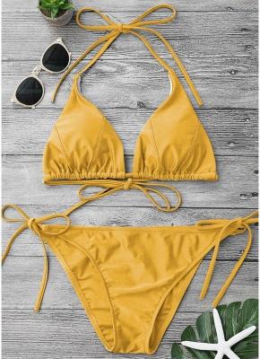 Solid Color Halter Bandage Tie Sexy Bikini Set_2
