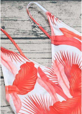 Leaf Print V Neck Backless Sleeveless One Piece Swimsuit_7