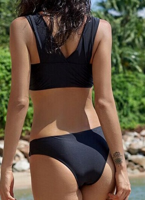 Women Sexy Bikini Set Swimsuit Push Up  Solid Bandage Beach Wear Swimwear Black/Army Green_3