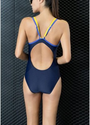 Athletic Contrast Strap Push Up Open Back Racing Competition One Piece Swimsuit_4