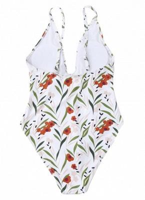 Women Floral One Piece Halter Swimsuit Sleeveless Backless Beachwear_3