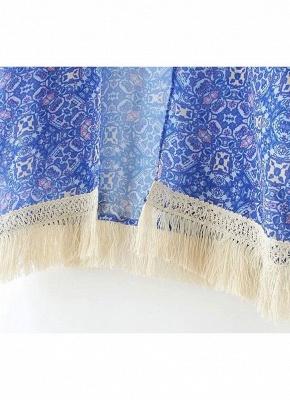 Vintage Retro Print Tassel Fringe Sheer Chiffon Blue Kimono_10