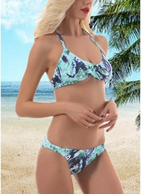 Women Vintage Print Bow Halter Padded Beach Sexy Bikini Set_1