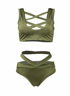 Women Sexy Bikini Set Cut Out Front Deep V-Neck Seeveess High Waist Bottom Swimwear Red/Green_8
