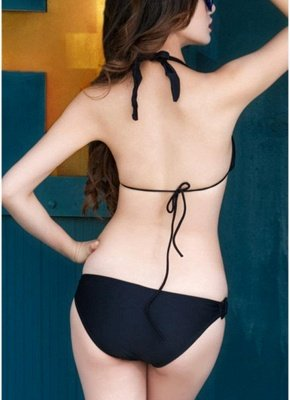 Halter Backless Swimwear Triangle Cups Push Up Sexy Bikini_4