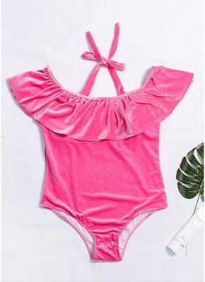 Plus Size Velvet Ruffle Halterneck Off The Shoulder Swimsuit One Piece_1