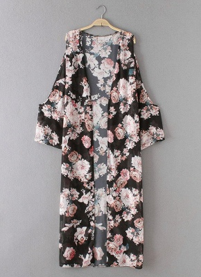 Summer Chiffon Cardigan Sexy Bikini Cover Up Printed Boho Long Women's Kimono_4
