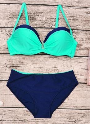 Women Plus Size Two Piece Sexy Bikini Set Triangular Spaghetti Strap Swimwear_6