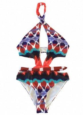 Women One Piece Printed Swimsuit Swimwear Plunge Bathing Suit Backless Beachwear Monokini?_4