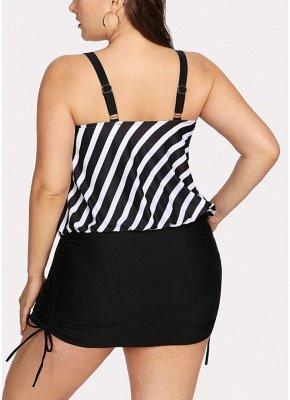 Women Striped Swim Dress Tie Side_3