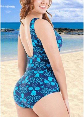 Plus Size Print O Neck Sleeveless Backless One Piece Swimsuit_6