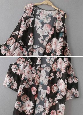 Summer Chiffon Cardigan Sexy Bikini Cover Up Printed Boho Long Women's Kimono_7