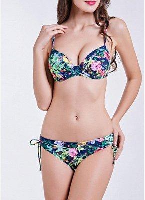 Women Underwire Two Pieces Swimsuit Floral Print Drawstring Sexy Bikini Set Bathing_2