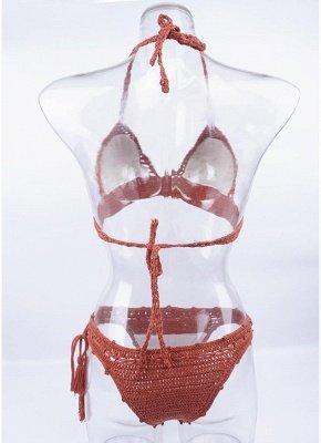 Crochet Knit Beads Halter Bandage Sexy Bikini Set_5