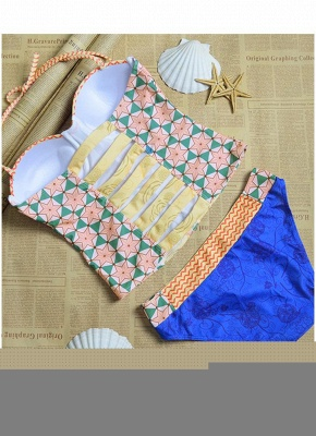 Women Sexy Bikini Set Flower Geometric Print Underwire Push Up Swimsuit_5