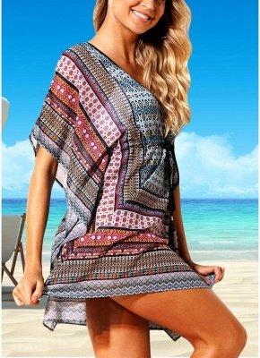 Women Beach Cover Up Dress Bohemian Geometric Print V-Neck Loose_5