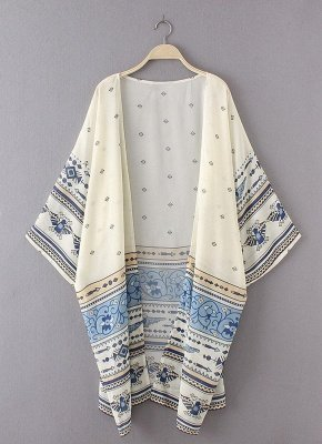 Summer Chiffon Printed Women's Long Loose Thin Kimono_3