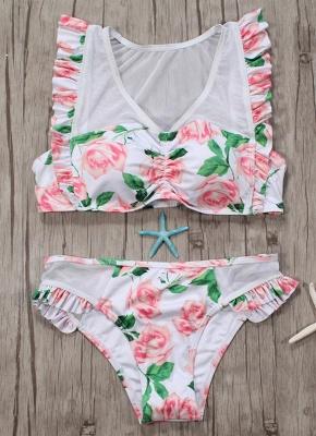 Women Two Piece Swimsuit Floral Print Mesh Ruffled Beach  Sexy Bikini Set Swimwear Pink?_3