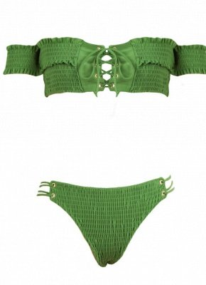 Women Smocked Off the Shoulder Lace Up Sexy Bikini Set_9