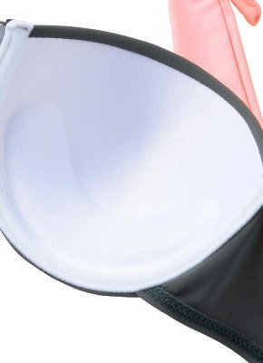 Women's Contrast Color Block Underwire Halter Top High Waist Bottom Sexy Bikini Set_9