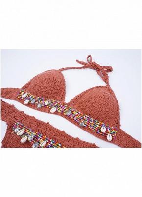 Crochet Knit Beads Halter Bandage Sexy Bikini Set_8