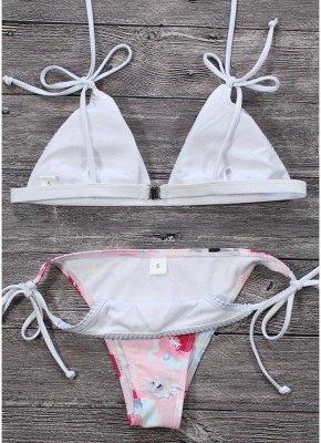 Women Sexy Bikini Set Floral Print Striped Splice Strappy Wireless Swimwear Swimsuits Two Piece Beach Wear_3