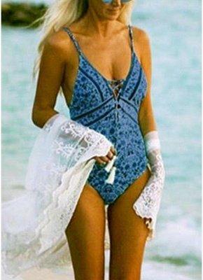 Women One Piece Swimsuit  Deep V-Neck Lace Up Swimwear Backless Printed Beachwear Monokini_2