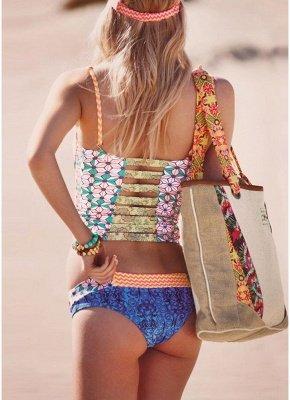 Women Sexy Bikini Set Flower Geometric Print Underwire Push Up Swimsuit_3