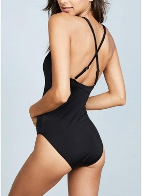 Plunge V Neck Crisscross Bandage Solid One-piece Swimsuit_8