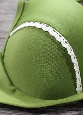Women Sexy Bikini Set Push Up  Frill Low Waisted Swimwear Padded Two Piece Swimsuit Beach Wear Green_7