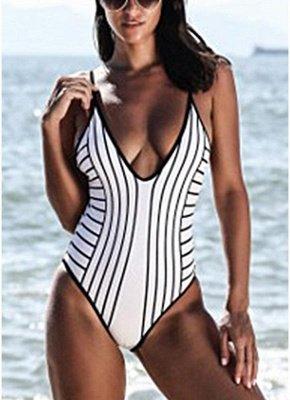 Women One Piece Swimsuit High Cut Open Back  Playsuit Jumpsuit Rompers_3