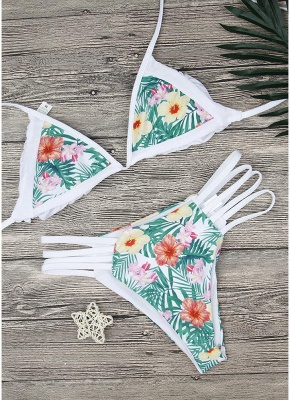 Floral Print Halter Bandage Sexy Bikini Set_6