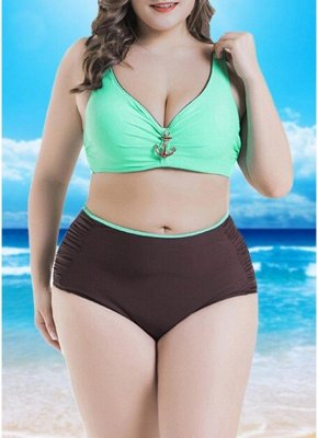 Women  Sexy Bikini Set Color Splice Padded Underwire High Waist Swimsuit Beach Wear_2