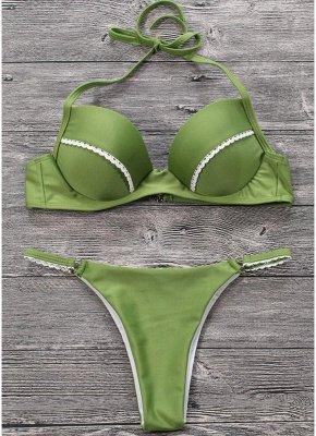 Women Sexy Bikini Set Push Up  Frill Low Waisted Swimwear Padded Two Piece Swimsuit Beach Wear Green_3