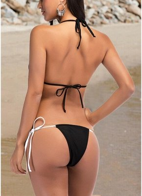 Women Two Piece Sexy Bikini Set Triangle Halter Neck Padded Bandage Swimsuit_4