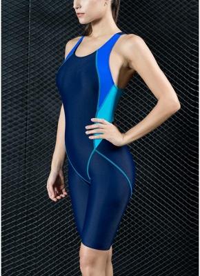 Women Sports One Piece Swimsuit Full Brief Knee Professional  Swimwear_6