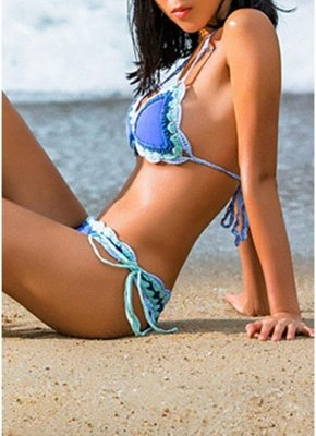 Sale pink l Women Strappy Sexy Bikini Set Backless Print Summer Beach Bathing Suit Swimwear from Chicloth. Best affordable Sexy Bikinis online store, cheap discounts are waiting for you._4