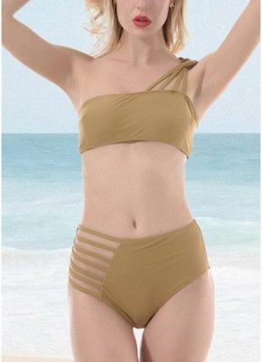 Women One Shoulder Hollow Out Side Bandage High Waist Padded Wireless Two Piece Sexy Bikini Set_1